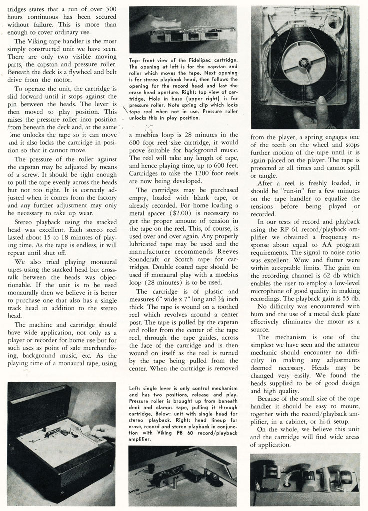 Page 2 of the 1957 review of the Fidelipac tape system from Viking in Phantom Productions' vintage recording collection