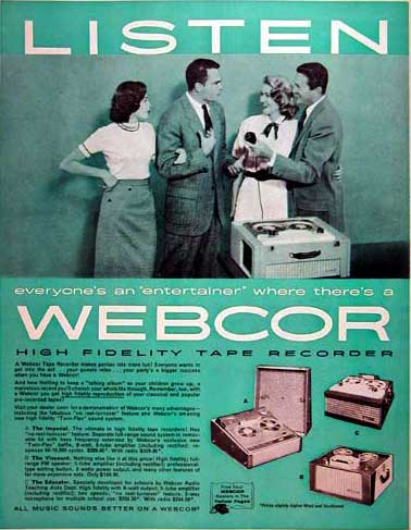 1957 Webcor tape recorder ad in Phantom Productions' vintage recording collection