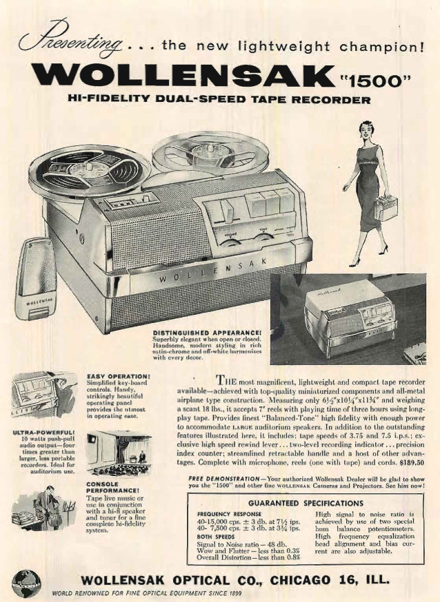 1957 Wollensak 3M ad for the 1500 reel to reel tape recorder in the Reel2ReelTexas.com's vintage recording collection