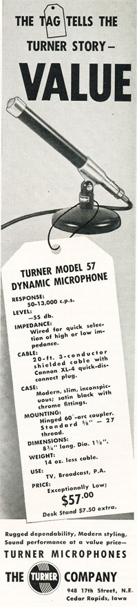 1957 Turner 57 microphone ad in Reel2ReelTexas.com's vintage recording collection