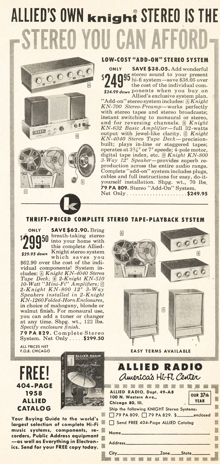 ad for 1958 Allied Radio catalog in PPI's vintage tape recorder collection