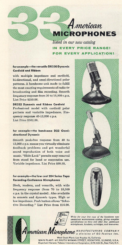 1958 ad for American microphones in the Reel2ReelTexas.com's vintage recording collection