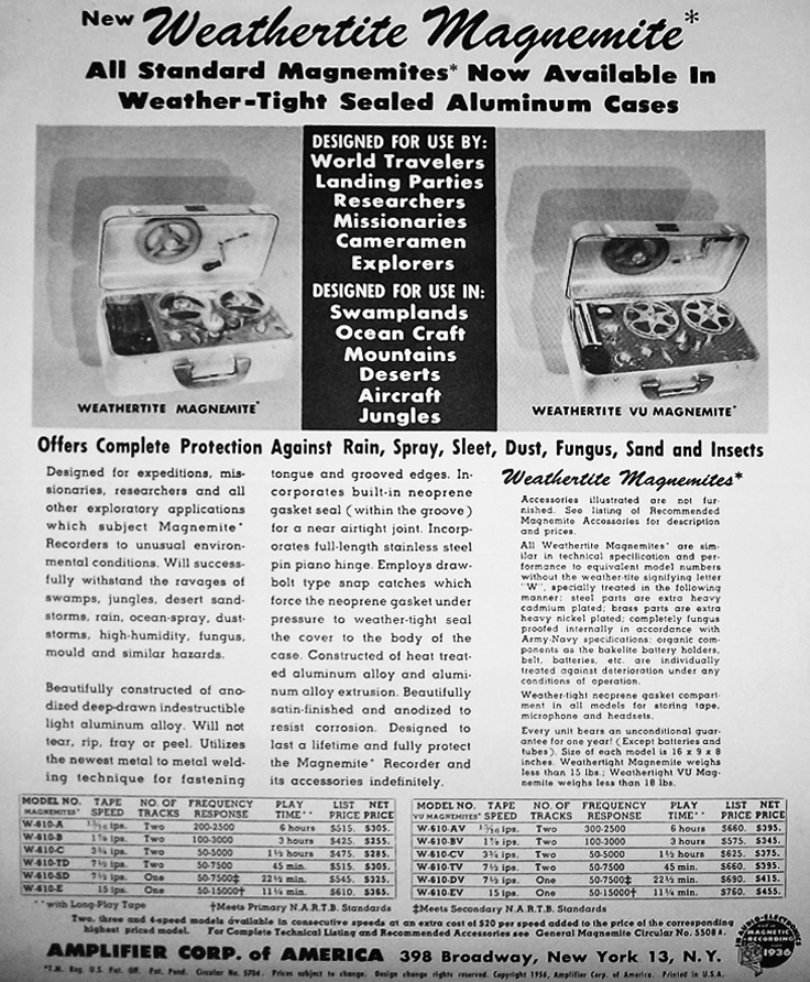 1958 ad for the Amplifier Corporations' Weathertite Magnemite reel to reel tape recorder in the Reel2ReelTexas.com's vintage recording collection