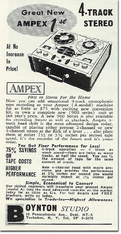 1958 ad for the Ampex A122 reel tape recorder in the   Reel2ReelTexas.com's vintage recording collection