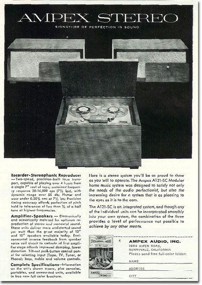 1958 Ampex reel tape recorder ad