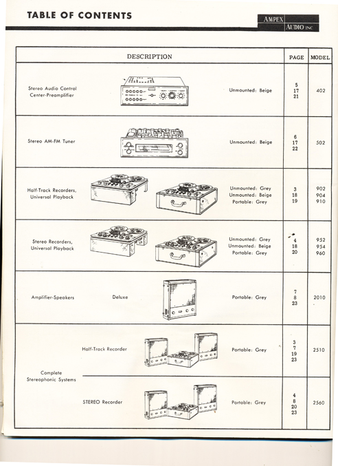 Ampex 950 & other Ampex equipment brochure from 1958 in Reel2ReelTexas.com vintage reel to reel tape recorder collection