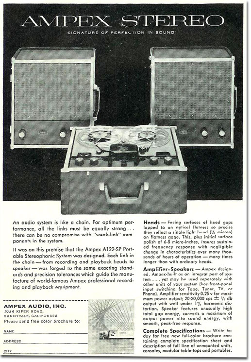 1958 Ampex A122 reel tape recorder ad