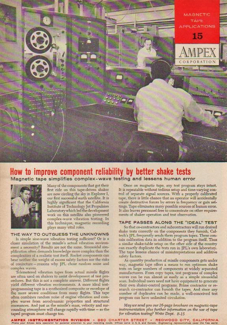 1958 ad for the Ampex data  professional reel to reel tape recorder in the Reel2ReelTexas.com's vintage recording collection