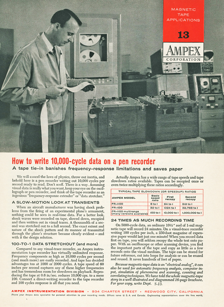 1958 ad for the Ampex FR1100 data  professional reel to reel tape recorder in the Reel2ReelTexas.com's vintage recording collection