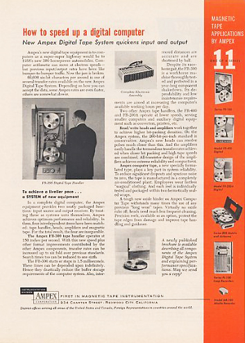 1958 ad for the Ampex digital data  professional reel to reel tape recorder in the Reel2ReelTexas.com's vintage recording collection