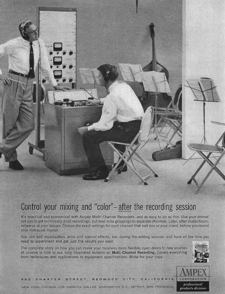 1958 ad for the Ampex 950 professional reel to reel tape recorder in the Reel2ReelTexas.com's vintage recording collection