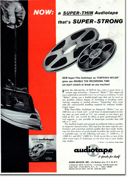 1958 Audiotape reel tape ad in the Reel2ReelTexas.com's vintage recording collection