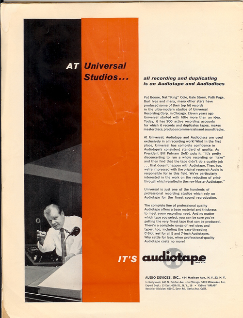 1958 Audiotape  ad in PPI's reel to reel tape recorder collection