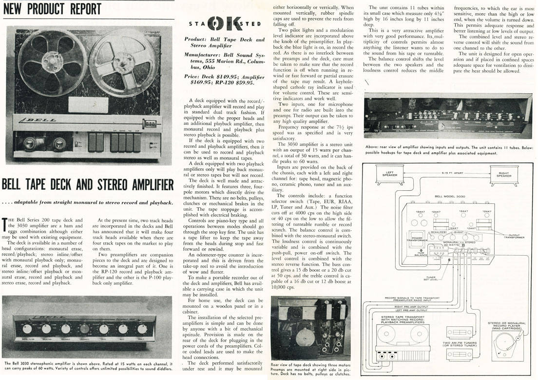 1958 review of the Bell 200 Series reel to reel tape recorder in Reel2ReelTexas.com's vintage recording collection