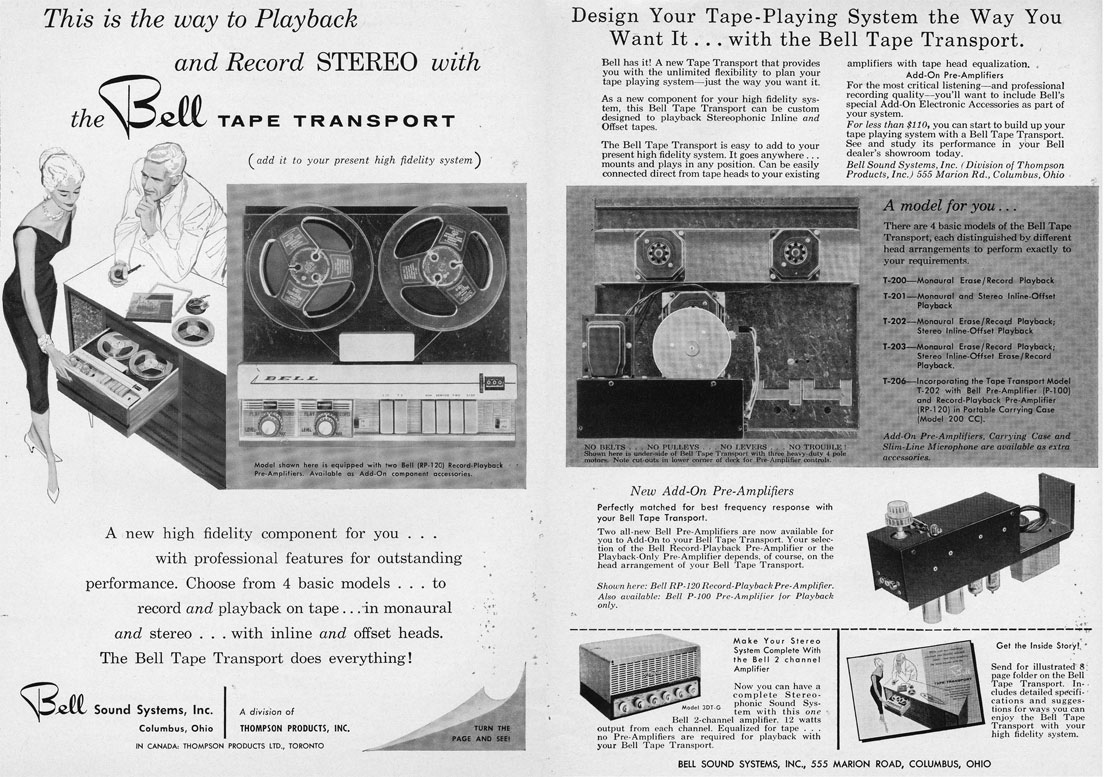 1958 ad for the Bell home stereo system including their reel to reel tape recorder in Reel2ReelTexas.com's vintage recording collection