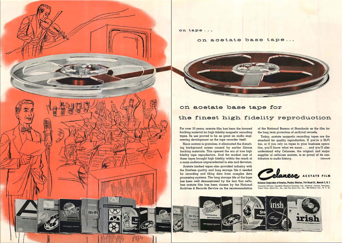 1958 Calanese reel tape ad in the Reel2ReelTexas.com's vintage recording collection