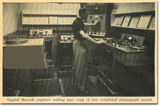 Capitol Records disk quality control room in 1958
