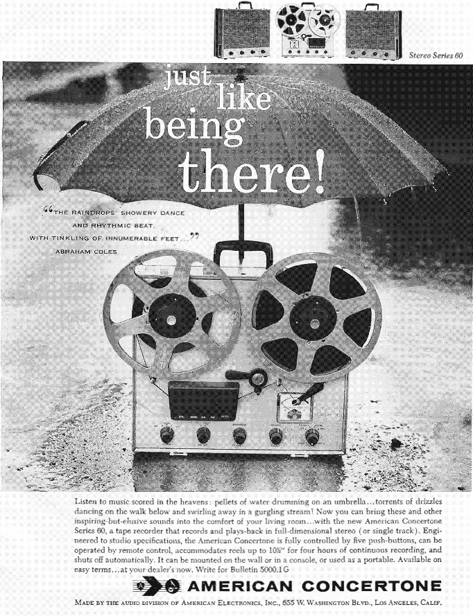 Concertone 60 reel to reel  tape recorder ad from 1958  in the Reel2ReelTexas.com's vintage recording collection