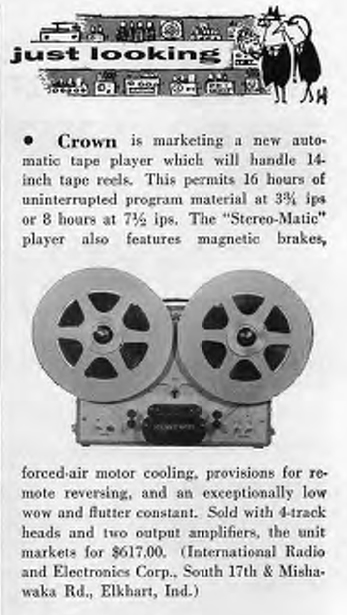 1958 information on the Crown-O-Matic reel tape recorder in Reel2ReelTexas.com's vintage recording collection