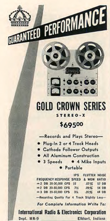 1958 ad for the Crown Gold reel tape recorder in Reel2ReelTexas.com's vintage recording collection