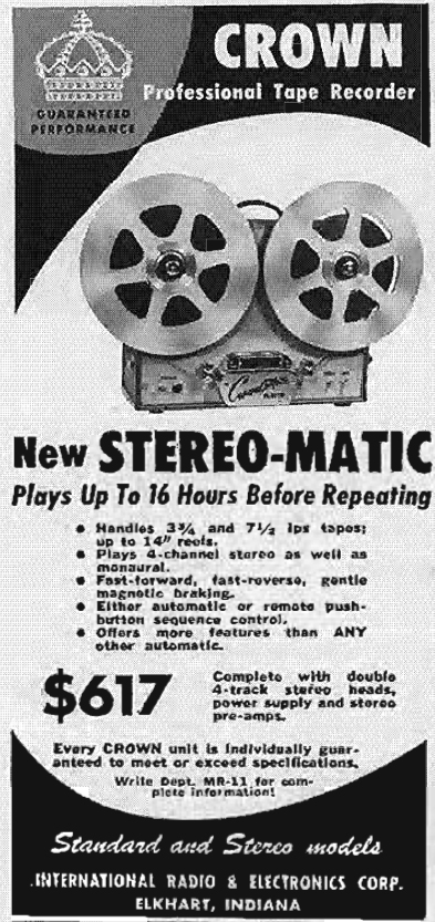 1958 ad for the Crown Stereo-O-Matic reel tape recorder in Reel2ReelTexas.com's vintage recording collection