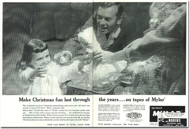 1958 DuPont Mylar reel recording tape ad in the Phantom productions' vintage recording collection