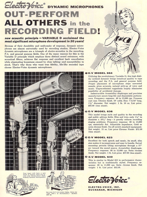 1958 ad for Electro Voice microphones in Phantom Production's vintage recording collection