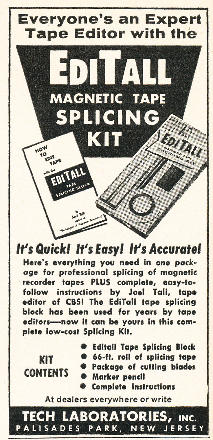 1958 ad for the EditALL splicing block patented by Joel Tall in the Reel2ReelTexas.com vintage recording collection
