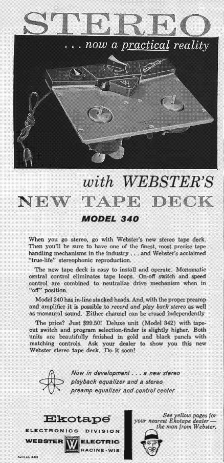 1958 ad for the Ekotape reel to reel tape recorder in Reel2ReelTexas.com's vintage recording collection