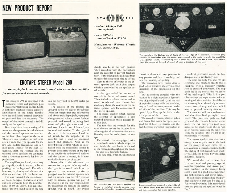 1958 review of the Ekotape reel to reel tape recorder in Reel2ReelTexas.com's vintage recording collection