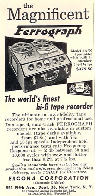 1958 ad for Ferrograph reel tape recorder in PPI's vintage tape recorder collection