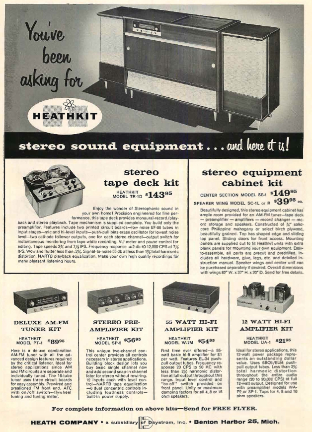 1958 ad for the HeathKit TR-1D reel tape recorder in the Reel2ReelTexas.com's vintage recording collection