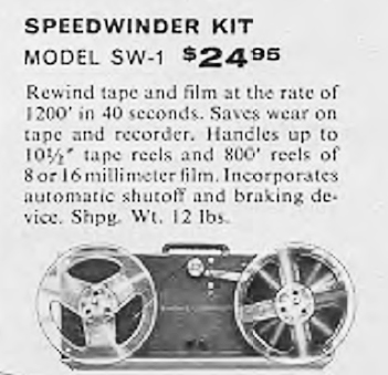 1958 ad for the HeathKit SW-1 Sidewinder rewinding deck in the Reel2ReelTexas.com's vintage recording collection