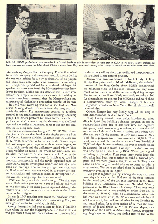 History of reel to reel tape recording up to 1958 page 9