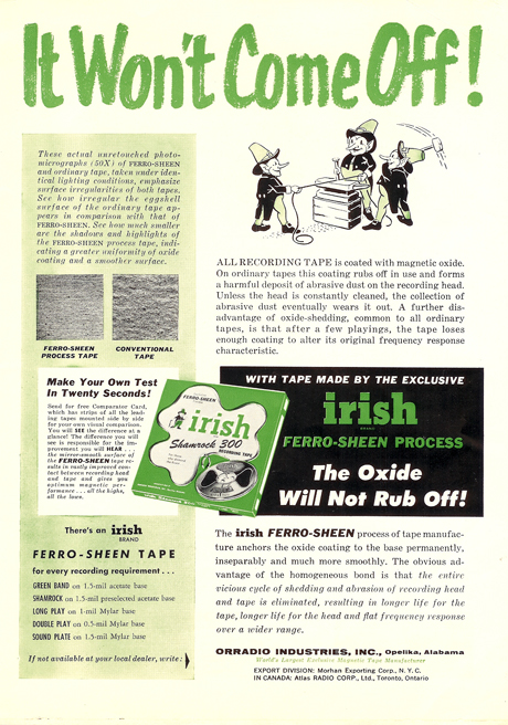Irish recording tape ad from 1958 in PPI's vintage recording collection