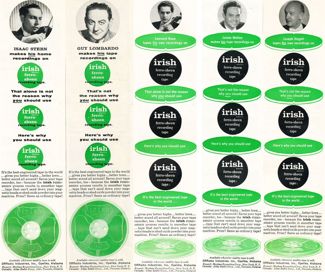 1958 Irish reel to reel recording tape ad featuring Guy Lombardo, Isaac Stern, Leonard Rose James Melton & Joseph Szigeti in Reel2ReelTexas.com's vintage recording collection