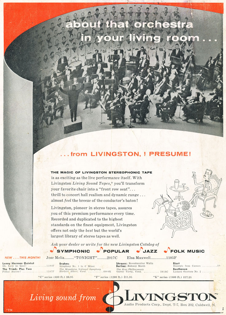 1958 ad for Livingston stereo tapes in Reel2ReelTexas.com's vintage recording collection