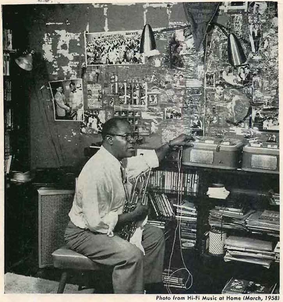 1958 photo of Louis Armsrong with his Tandberg reel tape recorders