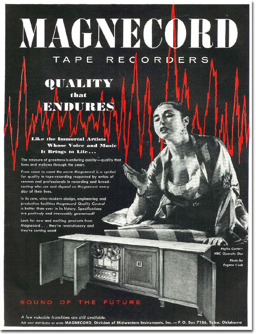1958 Magnecord reel tape recorder ad featuring Phyllis Curtin, NBC Operatic Star in Reel2ReelTexas.com's vintage recording collection
