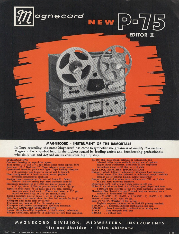 1958 ad for the Magnecord P-75 professional reel tape recorder in the Reel2ReelTexas vintage recording collection