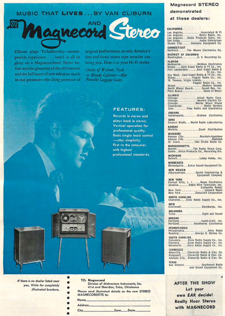 1958 Magnecord reel tape recorder ad featuring Fort Worth, Texas' Van Cliburn in Reel2ReelTexas.com's vintage recording collection