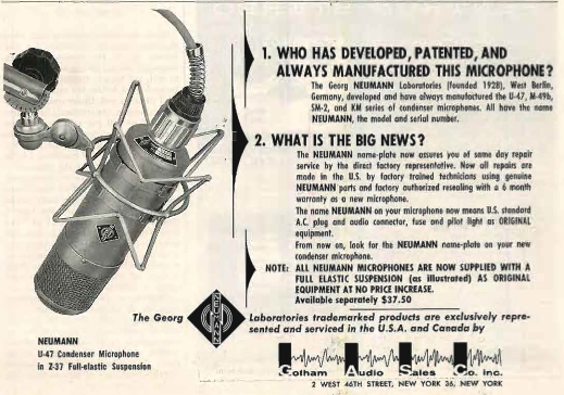 1958 ad for the Neumann professional microphones in Reel2ReelTexas.com's vintage recording collection