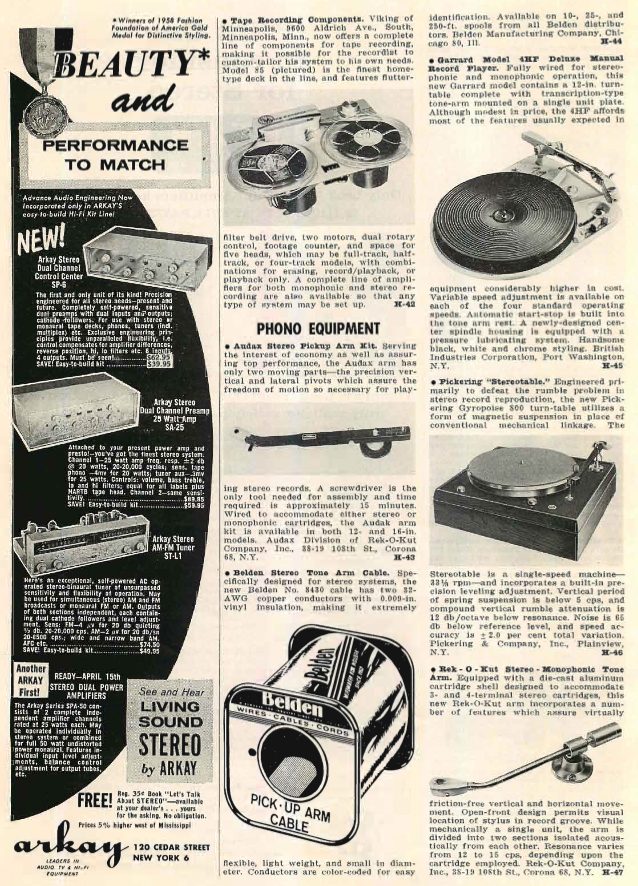 1958 listing of new products in Reel2ReelTexas.com's vintage recording collection