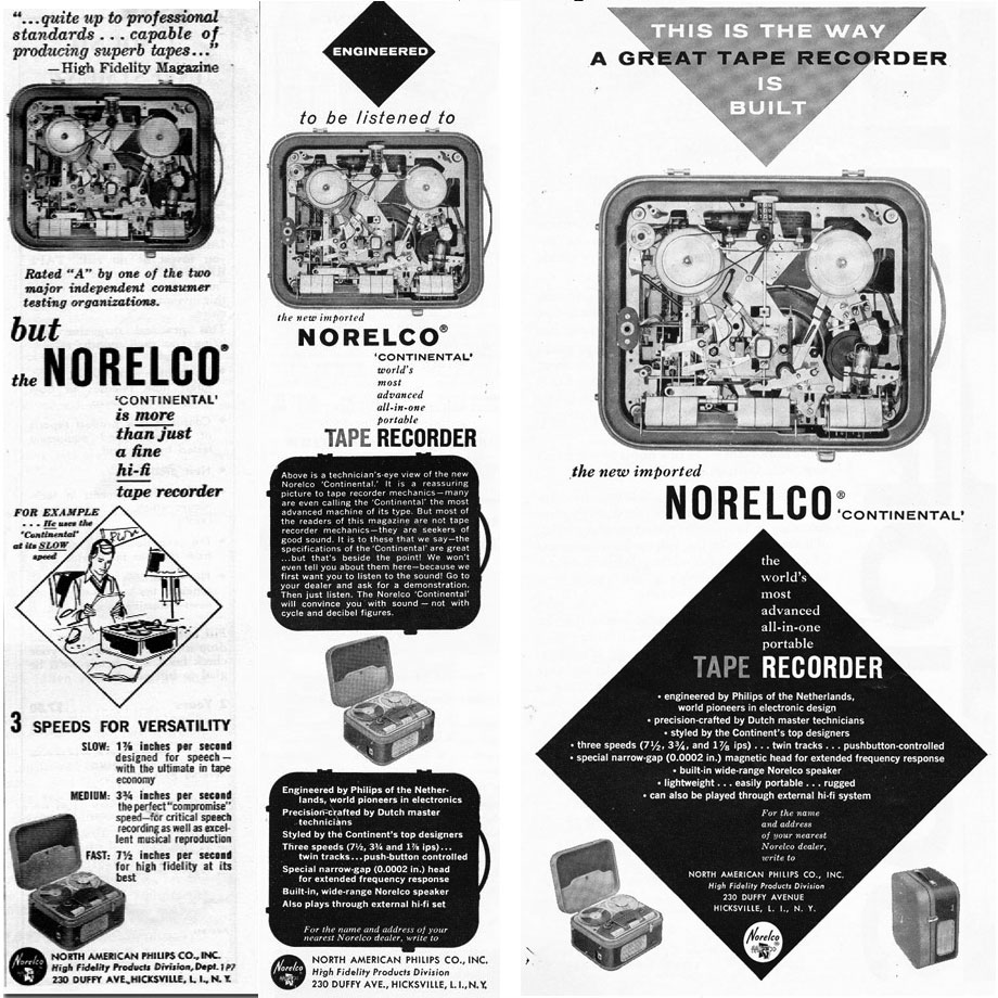 1958 Norelco reel to reel tape recorder ads in Reel2ReelTexas.com's vintage recording collection