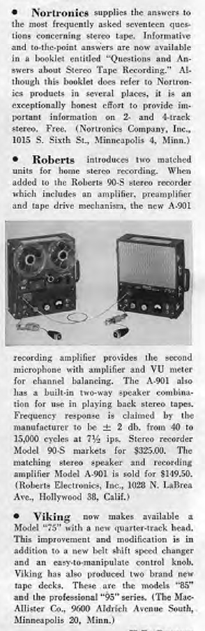 1958 information on Nortronics recording heads, Roberts Stereo 90 reel tape recorder and the Viking reel to reel tape recorder in Reel2ReelTexas.com's vintage recording collection