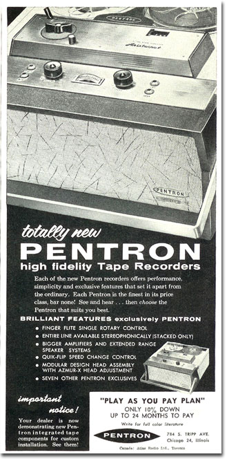 1958 ad for the Pentron tape recorder in the Reel2ReelTexas.com's vintage recording collection