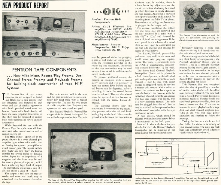 1957 article about Pentron reel tape recorder audio units in Reel2ReelTexas.com's vintage recording collection
