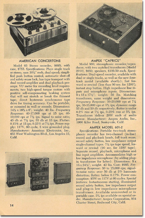 1958 Tape Recorder book showing details about tape recorders that were available in the Reel2ReelTexas.com's vintage recording collection