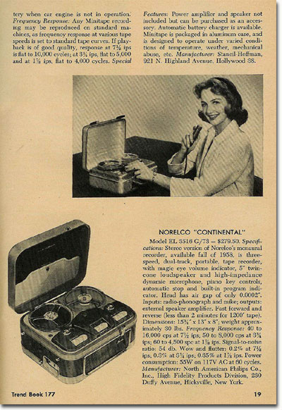 summaries regarding reel tape recorders from 1958