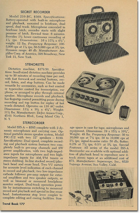 1958 Tape Recorder book showing details about tape recorders that were available